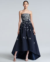 Oscar de la Renta Embellished High-Low Gown