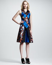 Proenza Schouler Protest-Print Silk Flare Dress
