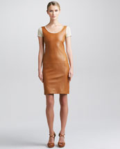 Ralph Lauren Black Label Leather-Front Short-Sleeve Dress, Caramel