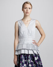 Marni Sleeveless Pleated Peplum Top