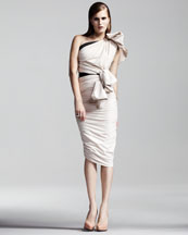 Lanvin One-Shoulder Ruched Dress, Ivory