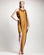 Lanvin Asymmetric Draped Satin Gown