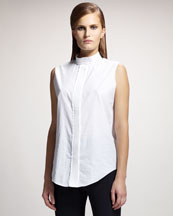 Lanvin Trapunto-Stitched Sleeveless Blouse