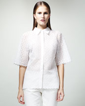 Stella McCartney Diamond-Eyelet Shirt