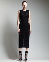 Alexander McQueen Below-Knee Macrame Sheath Dress