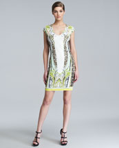 Roberto Cavalli Printed V-Neck Cap-Sleeve Dress