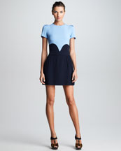 Victoria by Victoria Beckham Satin-Back Crepe Heart Dress