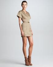 Victoria by Victoria Beckham Fitted V-Neck T-Shirt Dress