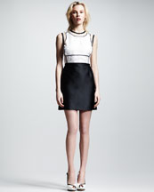 Victoria by Victoria Beckham Organza-Top Cutout Dress