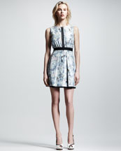 Victoria by Victoria Beckham Watercolor-Print Shantung Zip Dress