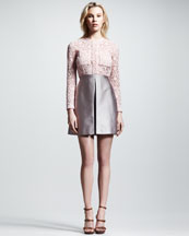Victoria by Victoria Beckham Corded Lace & Jacquard Combo Dress, Rose