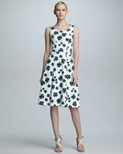 Carolina Herrera Clover-Print Scoop-Neck Dress, White