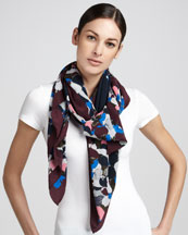Erdem Visconti Bloom Silk Crepe Scarf