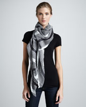 Thakoon Dot & Stripe Scarf, White/Black