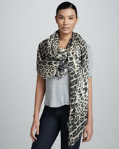 Roberto Cavalli Animal-Print Scarf, Natural