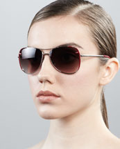 Fendi Zucca-Trim Aviator Sunglasses, Silvertone/Red