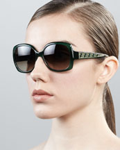 Fendi Oversized Zucca-Arm Sunglasses, Green