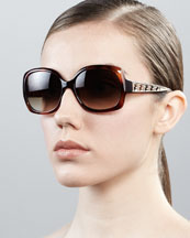Fendi Metal Zucca Cat-Eye Sunglasses, Havana