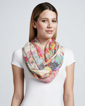 Erdem Sache Printed Scarf, Pink/Orange