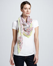 Erdem Montfort Printed Silk Scarf, Pink/Yellow