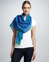 Tory Burch Allover T-Logo Printed Scarf, Ocean Breeze