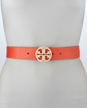 Tory Burch Classic Pebbled Leather Logo Belt, Poppy Red