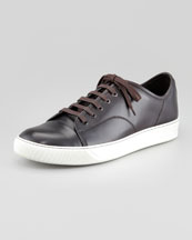 Lanvin Hand Polished Calfskin Low Top Sneaker, Dark Brown