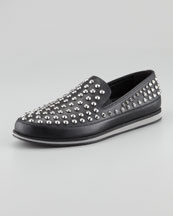 Prada Studded Leather Slip-On
