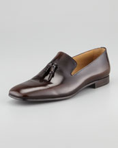 PRADA Spazzolato Tassel Loafer, Red Brown