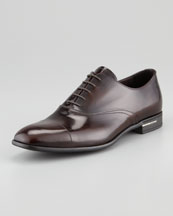 Prada Spazzolato Cap-Toe Lace-Up, Red Brown