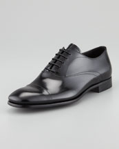 Prada Spazzolato Cap-Toe Lace-Up, Black