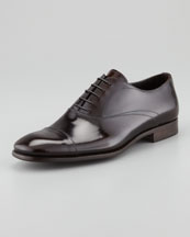 Prada Spazzolato Cap-Toe Lace-Up, Dark Brown