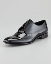 Prada Vernice Lace-Up Derby Shoe