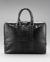 Santiago Gonzalez Slim Crocodile Briefcase, Black