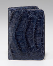 Santiago Gonzalez Crocodile Card Case, Navy