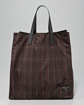 Prada Plaid Nylon Tote Bag, Brown Plaid