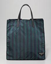 Prada Zip Tote Bag, Green Stripe