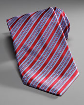 Stefano Ricci Striped Silk Tie, Red/Blue