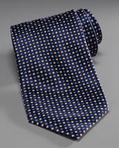 Stefano Ricci Grid & Dot Silk Tie, Navy/Gold