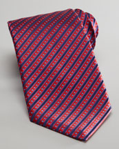 Stefano Ricci Stripe-Dot Silk Tie, Red/Navy
