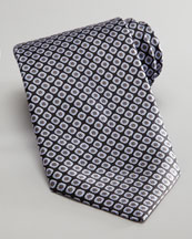 Stefano Ricci Square Silk Tie, Black/Gray