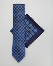 Stefano Ricci Silk Tie & Pocket Square Set, Navy