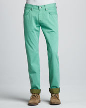 7 For All Mankind Straight Twill Pants, Vista Green
