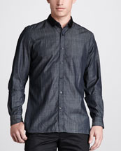 Lanvin Grosgrain-Collar Denim Shirt
