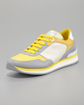 Salvatore Ferragamo Tower Runway Sneaker, Pearl/Yellow