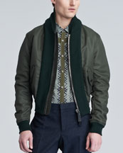 Burberry Prorsum Shawl-Collar Bomber Jacket