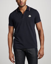 Moncler Tipped Logo Polo, Navy