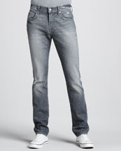 7 For All Mankind Paxtyn Slim Gray Distressed Jeans