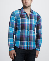 7 For All Mankind Double-Face Plaid Sport Shirt