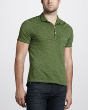 7 For All Mankind Burnout Slub Polo, Leaf